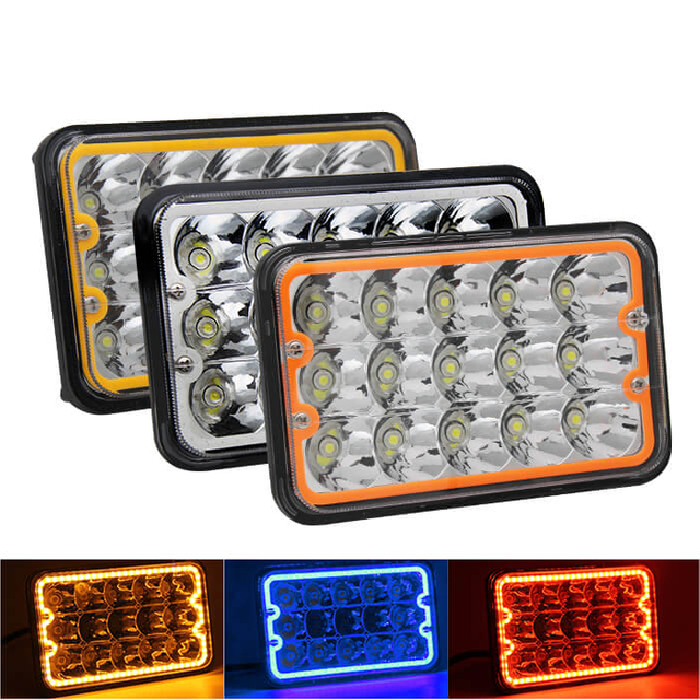4x6 Led Headlight with Colors Angle Eyes JG-1002N