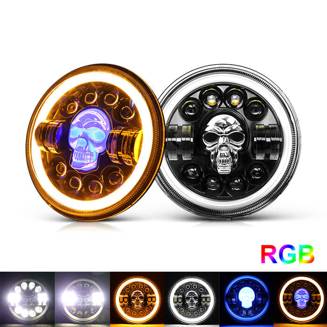 7 inch Skull RGB Led Headlight JG-J003K